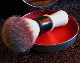"""Vintage handmade Shaving Brush DIABOLO ABS Handle 24mm """"Silvertip"""" Synthie Knot"""