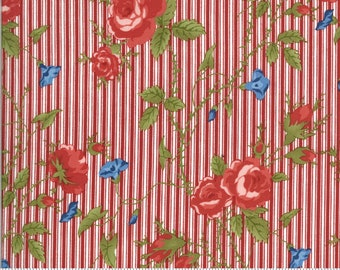 Harbor Springs Red Floral Stripe Cotton Fabric - Minick and Simpson- 14900 15 Moda - sold by the yard