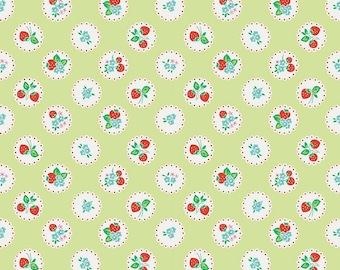 Biscuit Scallop Green from Strawberry Biscuit collection from Penny Rose Fabric, 1 yard