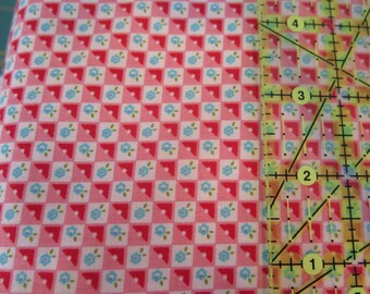 1 yard cut Riley Blake Bloom and Bliss Pink check fabric, 100% cotton, pink and blue girl fabric