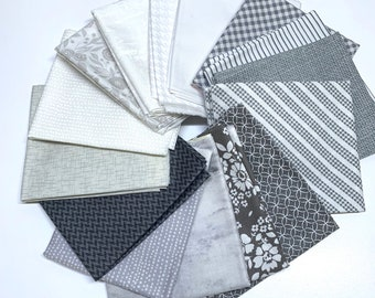 Gray Fat Quarter bundle - Gray and White - Gray and Off White Fabrics
