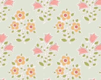 Tiny Farm Farm Flowers Green Cotton Fabric - Tilda Fabrics - 110016 - sold by the yard