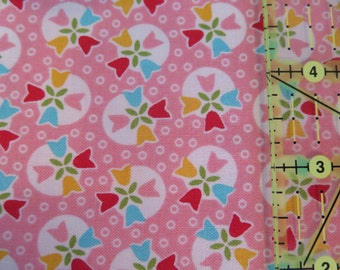 1 yard Riley Blake Bloom and Bliss tulips, pink 1005 cotton, quilt shop quality