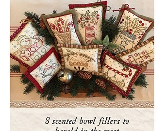Scented Christmas Bowlies Pattern - KS 1816 Kathy Schmitz - Embroidery Pattern