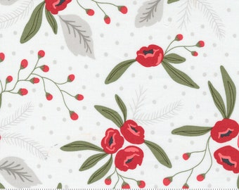 Christmas Morning Snow Blossoms Modern Floral Holly Focal Cotton Fabric - 5140 11 Moda - Lella Boutique - sold by the yard