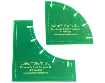 """Drunkards Path 4"""" Finished  Quilt Templates - 31173 Quilters Paradise - Cut Rite Slit and Sew"""