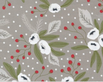 Christmas Morning Dove Snow Blossoms Modern Floral Holly Focal Cotton Fabric - 5140 13 Moda - Lella Boutique - Sold by the yard