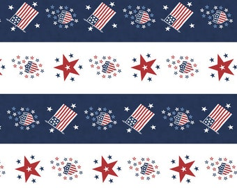 Harbor Springs Flag Star Bunting Cotton Fabric - Harbor Springs Navy - 14909 14 Moda Minnick and Simpson- Sold by the yard