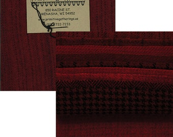 Christmas Wool Charm Pack - 10 5 inch squares in hand dyed reds - Primitive Gatherings