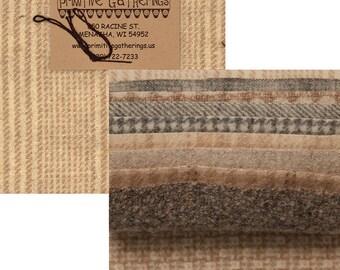 "Sheep Wool Charms 5 inch squares - Primitive Gatherings - PRI 6001 10"" wool squares"