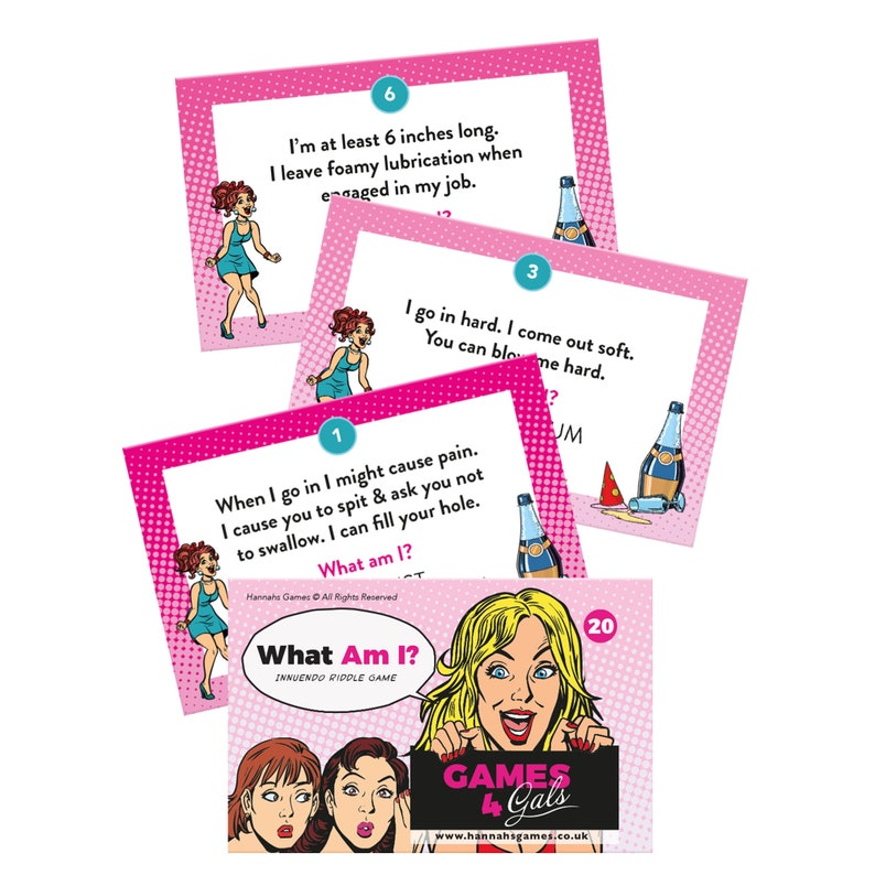 What Am I Hen Party Game Cards - Innuendo Dirty Minds Game with 20 rude  riddles - Hen Party Games fun - drinking game hen night card games