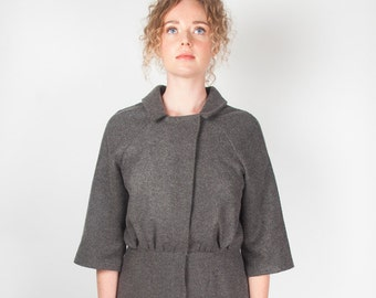 b103f58a0ab Grey Flannel Tunic Dress 1960s style workwear minimalistic