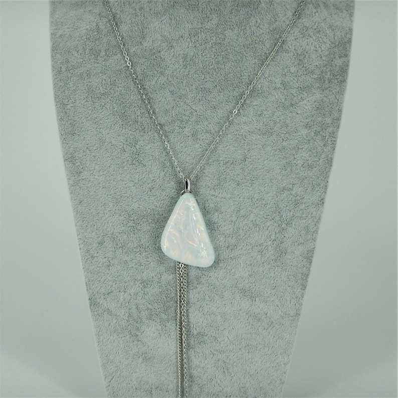 Long necklace with Pendant in fused glass butterfly wing necklace stainless steel