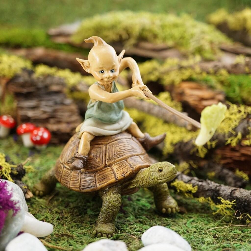 Fairy Gardening Garden Pixie Riding on Turtle   Etsy