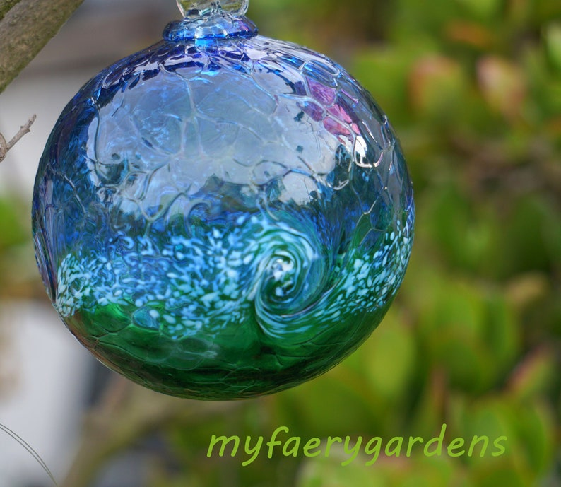 Fairy Gardens Fairy Orb Art Glass blue green swirl garden supply 3 inch glass