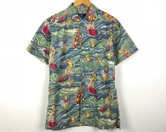 b42467d86bb Vintage 90s POLO RALPH LAUREN Hawaiian Shirt Surfing Over Print Size Men s  Large