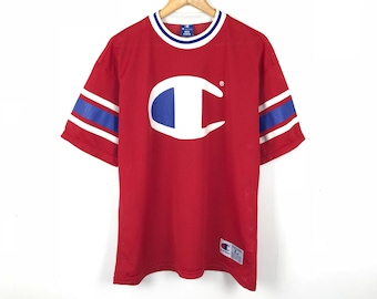 CHAMPION Vintage 90s Champion Big Logo Red White Vintage Mesh Jersey Size  Large a54068d27