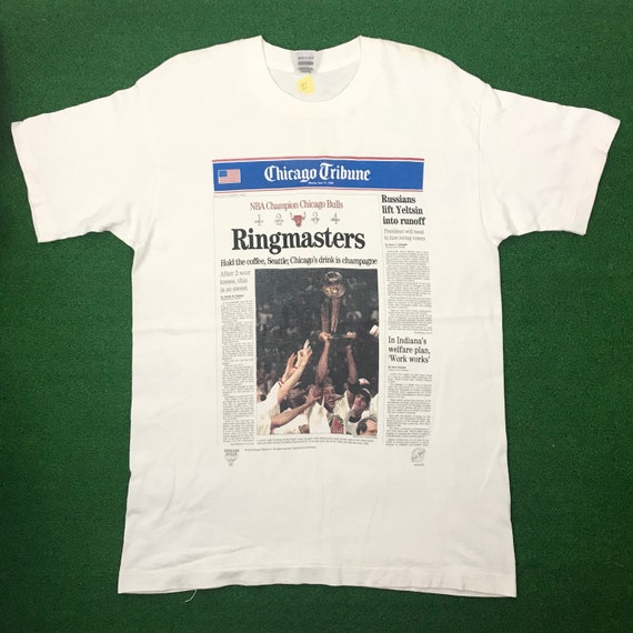 848f61f4316 Chicago Bulls Vintage 90s Chicago Tribune Newspaper T Shirt