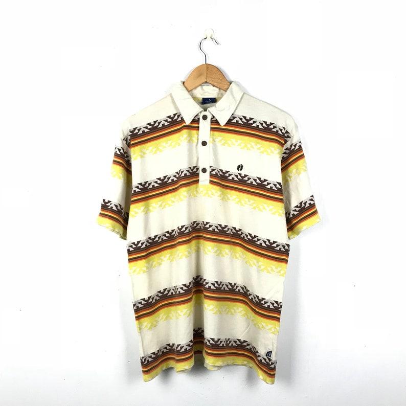 HANG TEN Vintage 90s Stripe Polo Shirt Size Large