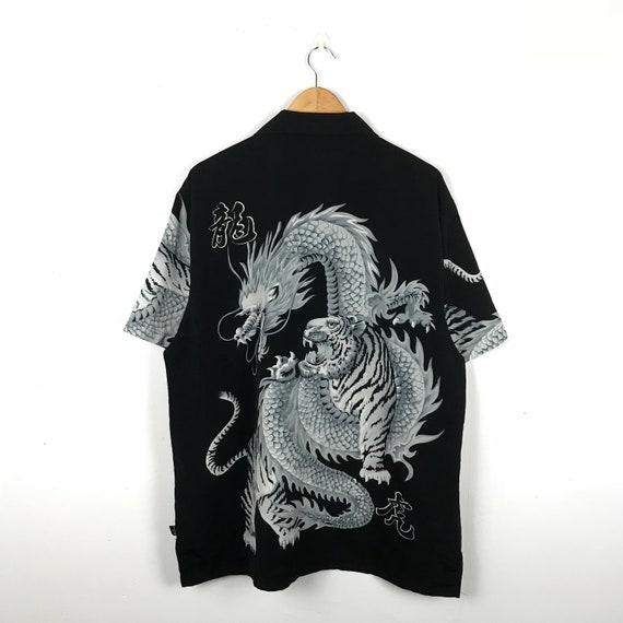 Size Dog Hawaiian Hawaiian Polo Rayon Shirt Town Vintage Summer XLarge Skateboard Dragon tiger Shirt White Dogtown X wSqnFZXA