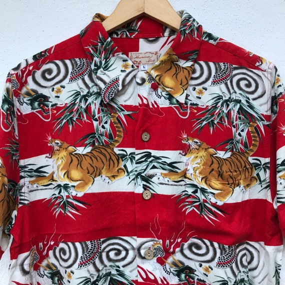 Shirt Hawaiian Bamboo Large Polo Summer Hawaiian shirt Tiger Size UwSztxx