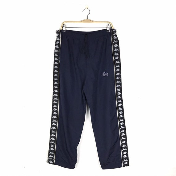 KAPPA Pants Vintage 90s Side Tape Logo Dark Blue V