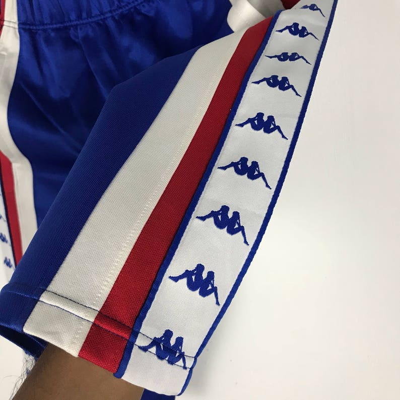 Red KAPPA Short Pants Embroidered Sidetape Logo  Blue White Vintage Pant Size Medium