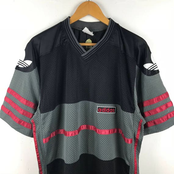 Size Stripe Logo Jersey Big ADIDAS Streetwear Large Vintage 90s Mash qw8IUP