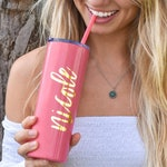 Personalized Powder Coated Stainless Steel Skinny Tumbler with Lid and Straw, Monogrammed Tumbler