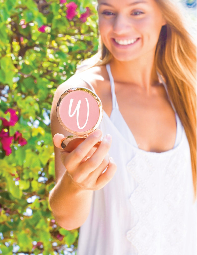 Bridesmaid Gifts-personalized compact mirror-Rose Gold compact image 0