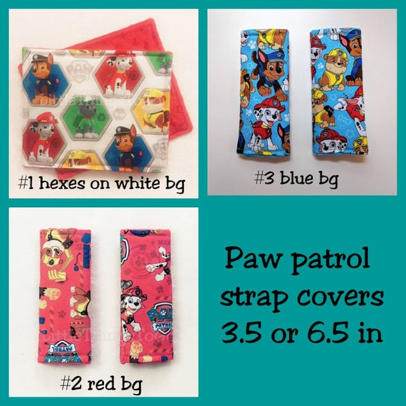 2 Paw Patrol Car Seat Strap Covers Red Cotton Fabric And
