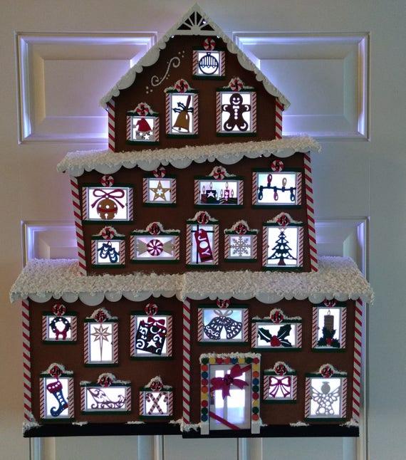 Christmas Advent House.Christmas Gingerbread Advent House