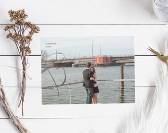 Photo Save the Date Postcard, DIY, Custom, Calligraphy, Boho 5x7, ampersand save the date, engagement photo, simple