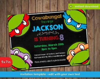 Turtle Invitation Etsy