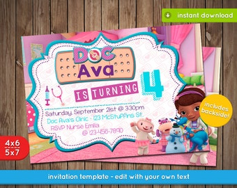 graphic regarding Doc Mcstuffins Printable Invitations known as Mcstuffins invite Etsy