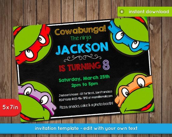 Impeccable image within ninja turtles birthday invitations printable