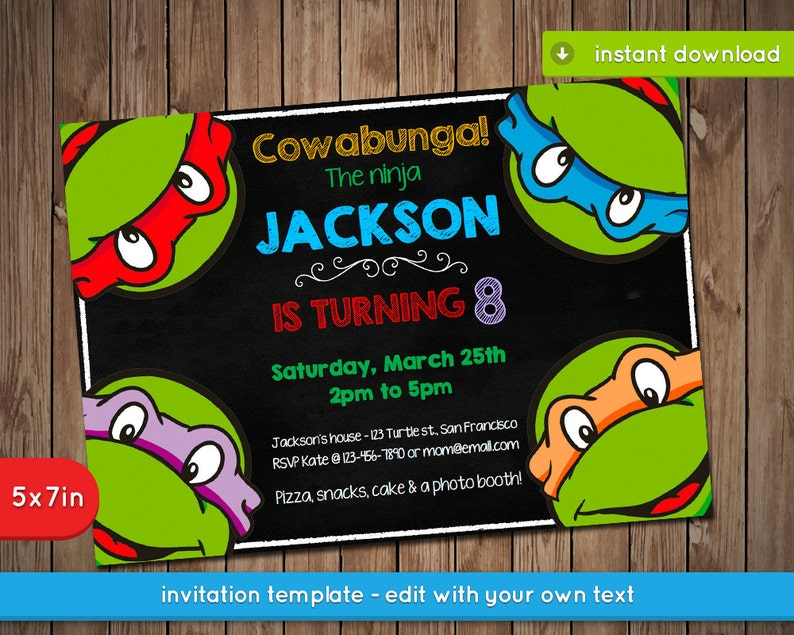 picture regarding Printable Ninja Turtle Invitations named Teenage Mutant Ninja Turtles Invitation - TMNT Printable birthday celebration invite - PDF Instantaneous Down load