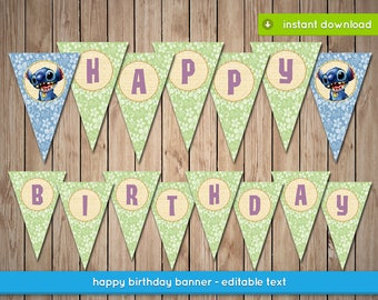 Lilo and Stitch Banner - Printable happy birthday party banner decoration - Editable Text - INSTANT PDF DOWNLOAD