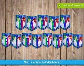 Pj Masks Banner - Printable happy birthday party banner decoration - INSTANT PDF DOWNLOAD