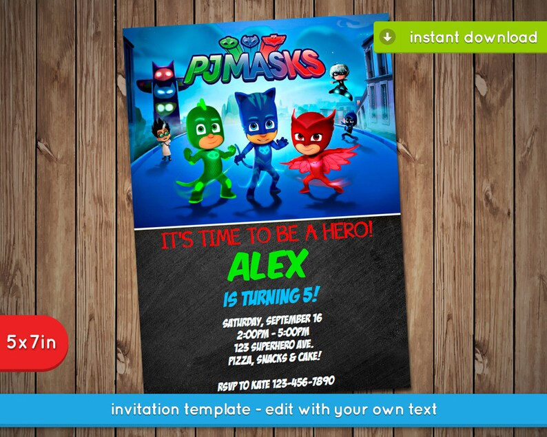 Pj Masks Invitation Printable Birthday Party Invite