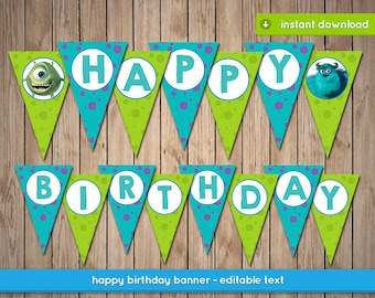 Monsters Inc Banner - Printable happy birthday party banner decoration - Editable Text - INSTANT PDF DOWNLOAD