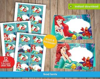 Ariel Little Mermaid Food Label Tents - Ariel, The Little Mermaid food, labels, Tents, tags, decoration, favors - INSTANT DOWNLOAD