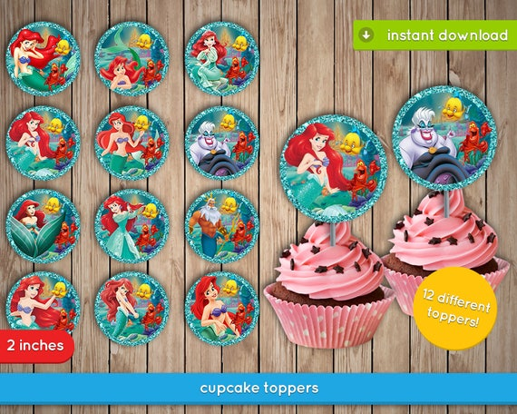 Ariel Cupcake Toppers The Little Mermaid Disney Ariel Etsy