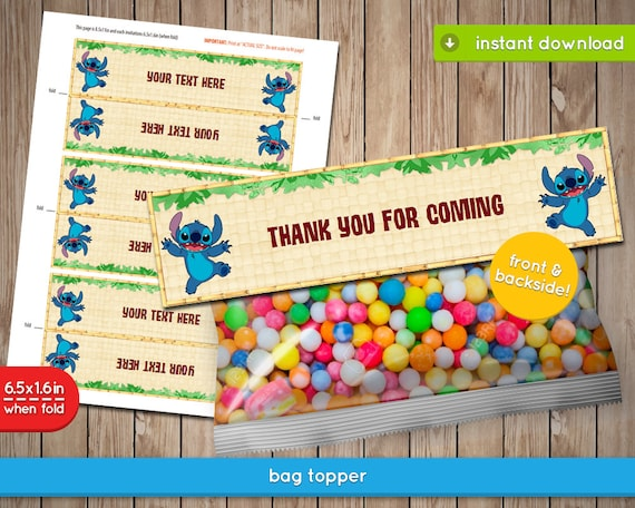 image about Printable Bag Toppers named Lilo and Sch Bag Toppers - Disney Printable Bag Topper, decoration, favors - Editable Phrases - PDF Prompt Down load
