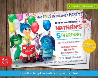 Inside Out Invitation - Printable birthday party invite - INSTANT PDF DOWNLOAD