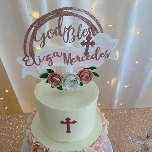 first communion floral party God bless cake topper boy baptism Birthday cake topper girl baptism bride to be cake topper