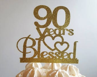 90 Years Blessed90 Cake Topper90th Birthday Decorationsglitter Topperbirthday TopperHappy 90th