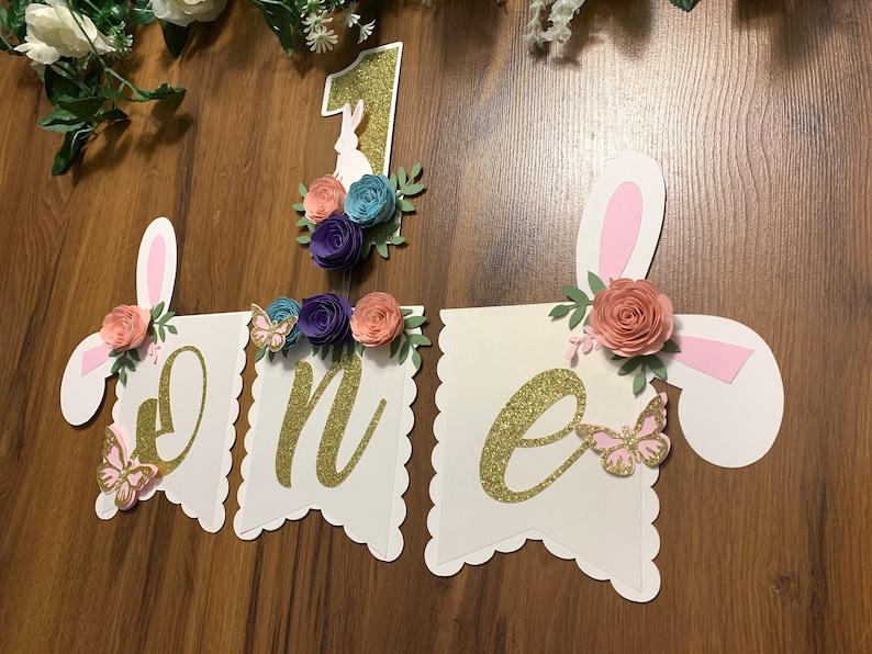 Some bunny is one bunny one Bunny one high chair banner Bunny floral banner 1st birthday Bunny theme Some Bunny is One Highchair Banner