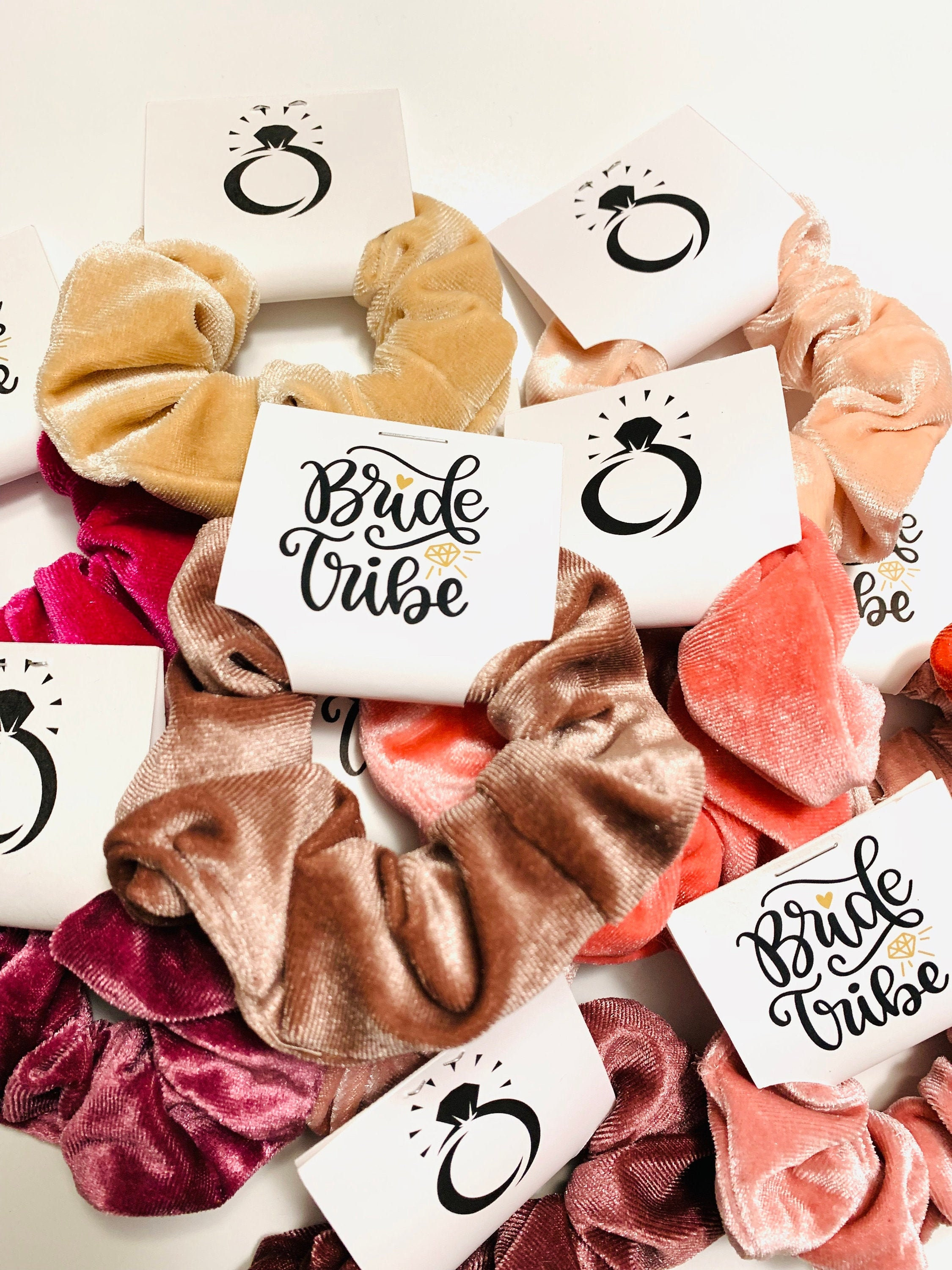 Personalized bachelorette party favors bridal shower favors hostess gift bridesmaid gifts velvet scrunchies favor gold hair tie favors                                                                    SocialBashDecor                               5 out of 5 stars                                                                                                                                                                                                                                                          (365)                                                      CA$1.03
