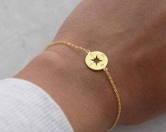 Gold compass bracelet, compass bracelet, dainty disc bracelet, layering bracelet, boho bracelet, edgy necklace, minimalist jewellery